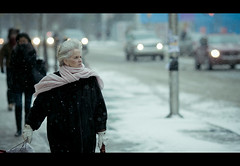 .. (tomms) Tags: street winter people woman snow toronto storm candid cinematic bloor canonef135lf2