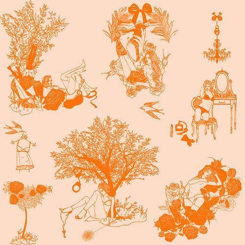 naughty toile for spoonflower fabric of the week