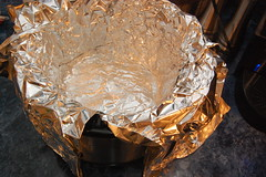 line with foil and butter