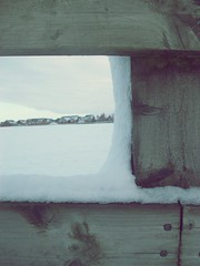 Suburbia under snow. (Oh, Inverted Girl) Tags: wood houses winter snow fence estate suburbia suburbs neighbourhood