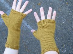 Gold Fingerless Mittens
