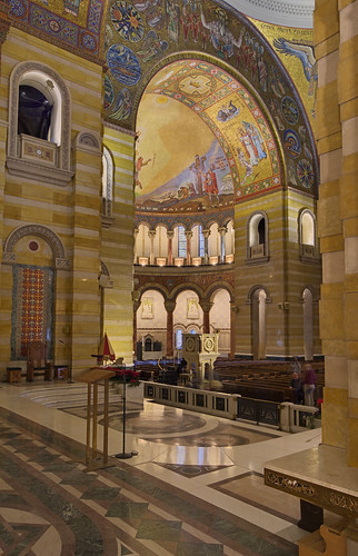 Cathedral Basilica of Saint Louis, in Saint Louis, Missouri, USA - view of nave from sanctuary