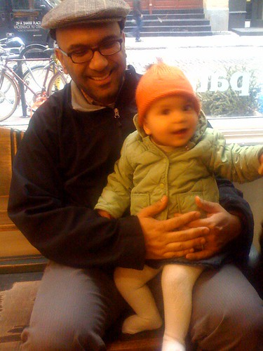 Laila and Salim enjoying a break from shopping