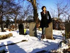 PICT2397 (jolie fleur) Tags: blue winter sky snow graveyard shadows resting wellies leaning gravestones hayley whittingham