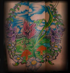 flower mural (Billy Whaley Tattoo) Tags: new flowers sky woman mountains orchid cute bird mushroom water girl rose tattoo clouds ink butterfly stars big cool vines mural pretty arm kentucky awesome badass large indiana tribal peony chick lilly half daisy albany billy louisville custom sleeve girlie asgard whaley
