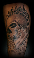 skull (Billy Whaley Tattoo) Tags: new old school white black flower rose tattoo ink skull grey idea cool kentucky awesome traditional badass indiana albany billy louisville brass knuckles razor asgard whaley forarm