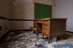 greenboad (Superchou) Tags: ohio abandoned oak paint classroom desk chips drawers youngstown greenboard