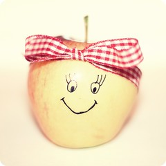 Adorable Annie Apple (mazarin) Tags: food apple face square stem bokeh drawing bow ribbon adorale