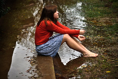 Day 98 (Aprille Janine) Tags: portrait reflection water grass rain self puddle mud flood sidewalk 365 day98
