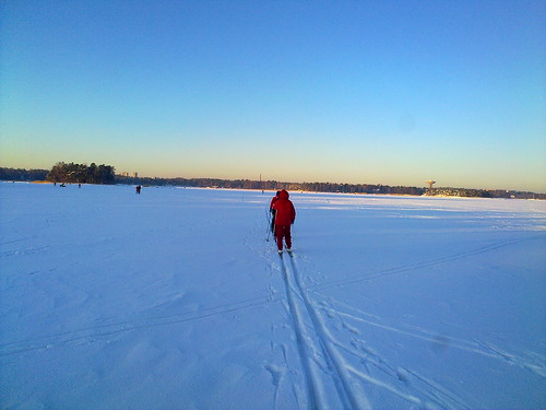 Skiing over the frozen sea