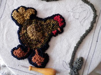 Funky Chicken Hooked Rug