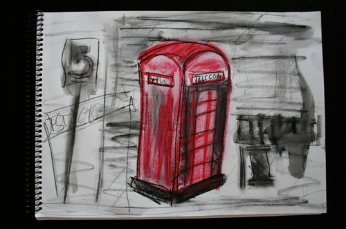 """Phone Booth in Recolete"" - Mixed Media on Paper - 11""x14"""