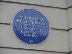 Photo of Benjamin Britten blue plaque