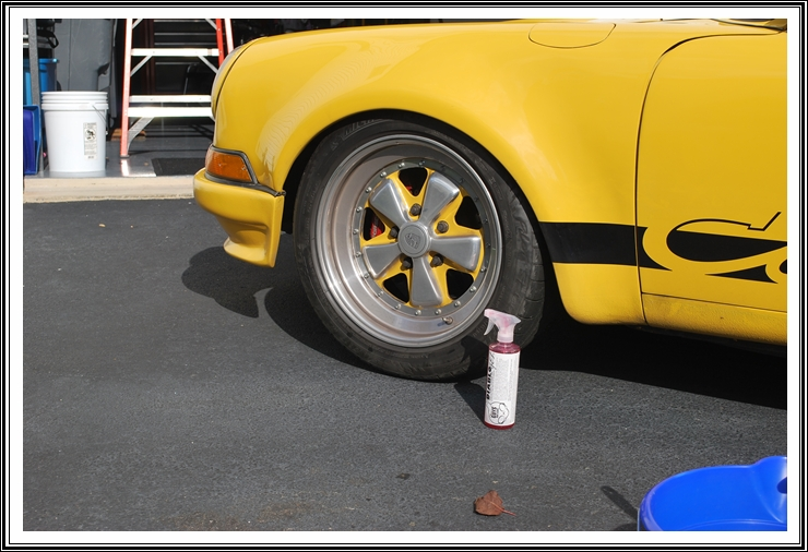 Chemical Guy's Diablo Wheel Gel used on a 1977 Porsche in Speed Yellow has custom painted centered spokes