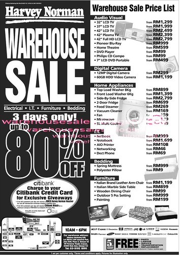 29 - 31 Jan: Harvey Norman 3 Days Warehouse Sale