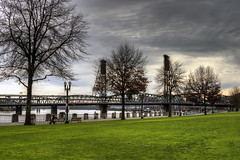 A Stroll in the Park with my Canon EOS 7D - HDR (David Gn Photography) Tags: city trees winter sky clouds oregon portland landscape downtown bridges esplanade hawthornebridge willametteriver hdr waterfrontpark canonef28135mmf3556isusm canoneos7d