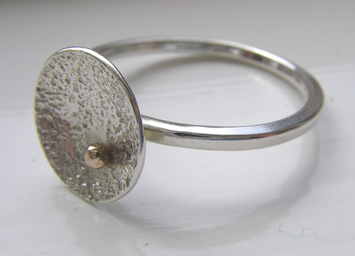 textured dome ring with gold spot 3