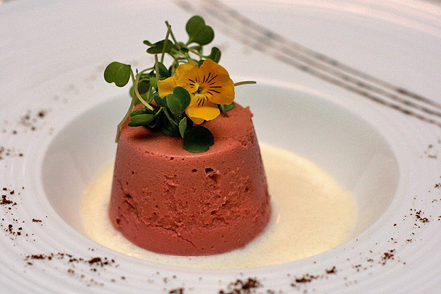 Beetroot Cake with Robiola Cheese Fondue