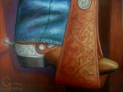Carl's Boot (janice ann1) Tags: horse art boot spurs cowboy pastels stirrup pastelsonpaper leathertooling janiceann