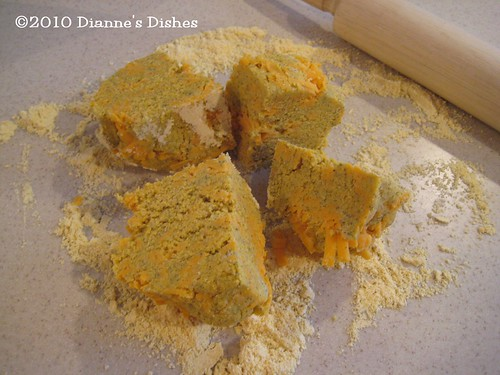 Cheddar and Dill Cornmeal Cookies: Dough Quartered