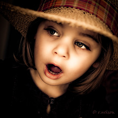 Gasp of Surprise (Rebecca812) Tags: light portrait girl beautiful hat canon eyes child eyelashes emotion daughter twin surprise gasp theface top20childrensportraits elitechildimages