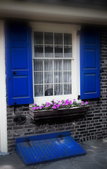 Elfreth's Alley, Philadelphia, PA (Ginny Griffin) Tags: door blue alley colonial shutters windowbox windowpanes