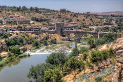 Bridge  Puente de San Martn, Toledo HDR Tilt Shift (marcp_dmoz) Tags: bridge espaa photoshop canon puente eos spain map sigma medieval toledo brcke 1020 tajo tone hdr spanien sanmartin castillalamancha mittelalter photomatix 50d faketiltshift tiltshifteffect