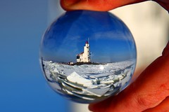 Lighthouse The Horse of Marken, Marken  The Netherlands. Crystal ball (kees straver (will be back online soon friends)) Tags: ocean blue light sunset sea sky lighthouse macro reflection beach water glass architecture clouds ball landscape coast crystal bokeh thenetherlands sphere refraction vuurtoren marken crystalball packice mywinners kruiendijs canoneos5dmarkii keesstraver thehorseofmarken