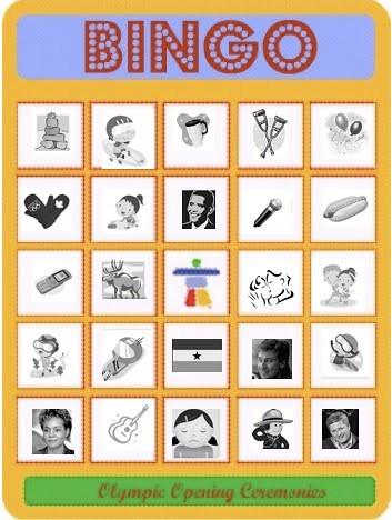Opening Ceremonies Bingo Card Bright
