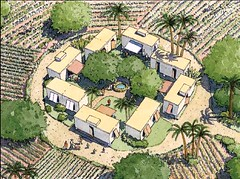 Haitian cabins depicted in a rural setting (by: DPZ)