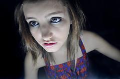 Out go the lights (essybecks) Tags: blue girl vintage hair big eyes dress skin pale short medium straight length