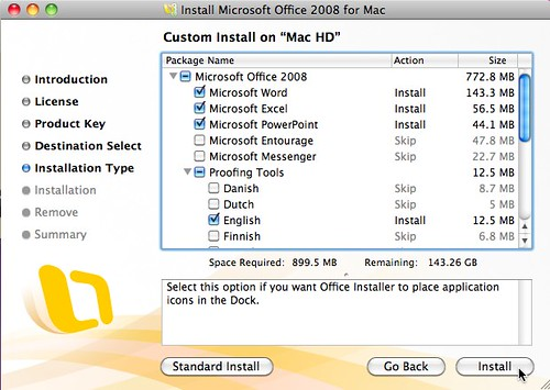 Custom Install Microsoft Office 2008 for Mac
