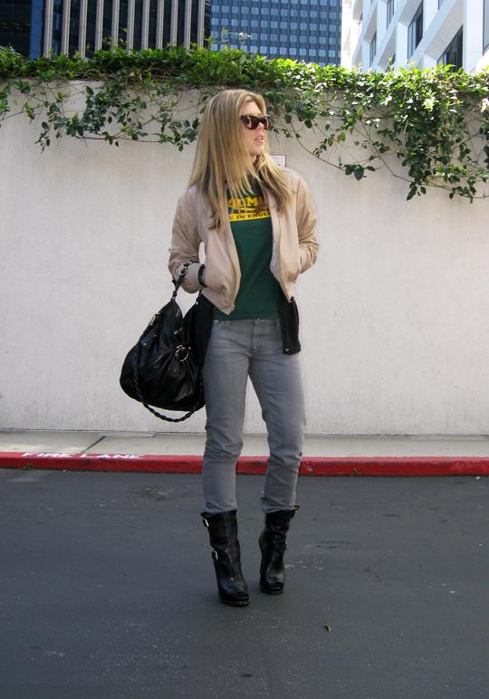 Triumph t-shirt gray jeans stiletto biker boots 4