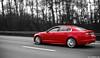 XFRed. (Denniske) Tags: red motion rouge photography march movement highway belgium belgique pentax 1st action 10 ds belgië automotive 03 01 r jaguar dennis 50 panning ist rood rosso v8 2010 noten xf e19 röt xfr cartocar denniske dennisnotencom