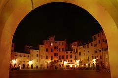 Vista notturna della Piazza dell'Anfiteatro a lucca, Toscana