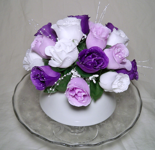 White, Purple and Lavender Silk Rose Wedding Cake Topper
