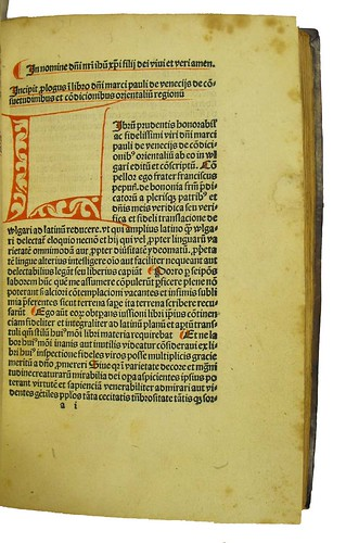 Manuscript initial, capital strokes, paragraph marks and underlining in Polo, Marco: De consuetudinibus et conditionibus orientalium regionum
