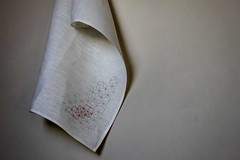 (assemblage) Tags: red white grey graphic linen assemblage gray gocco swap printed hang teatowel sashiko lightgrey