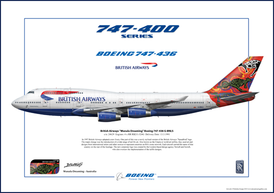 British Airways Wunala Dreaming Boeing 747-436 G-BNLS