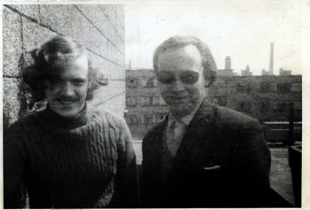 Denis Clark and Dad, Barrowfield,  1972.