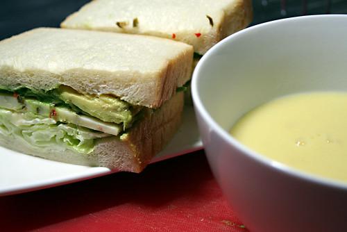 Chicken Soup & Pepperjack Avocado Sandwich