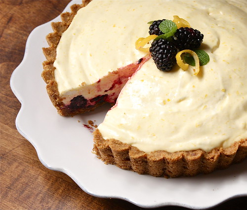 Meyer Lemon and Blackberry Chiffon Pie