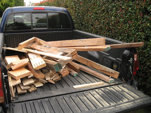 scrap pile in back of truck from Cora's Mexican restaurant