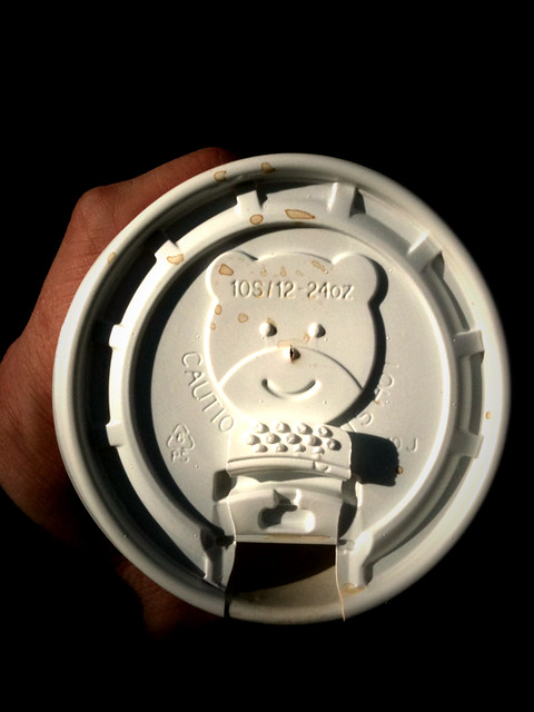 bear with a smile coffee lid looking at me #walkingtoworktoday