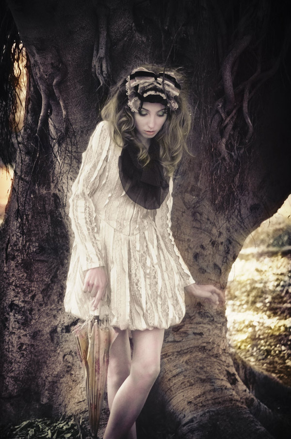 Umbrella & tree, Alice's Dreamtime; Winter Fashion Editorial