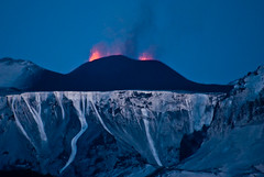 Volcano erupts in Iceland - 21. march 2010 (jovinsson) Tags: blue winter shadow red sky mountain snow ice nature water night landscape fire volcano lava iceland cool evacuation colorfull huge devil eruption brutal katla icelandic snjr longexposer erupts fimmvruhls myrdalsjokull ashcloud