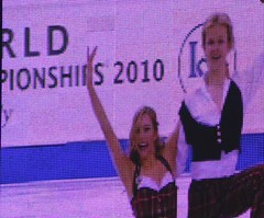 Chrissy and Mark on the Worlds Jumbotron at the end of their Scottish OD.