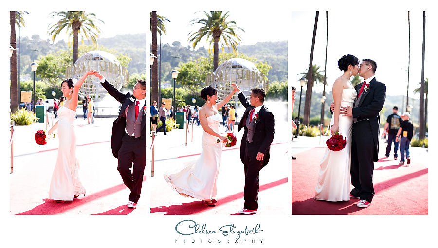 wedding portraits on universal city walk red carpet