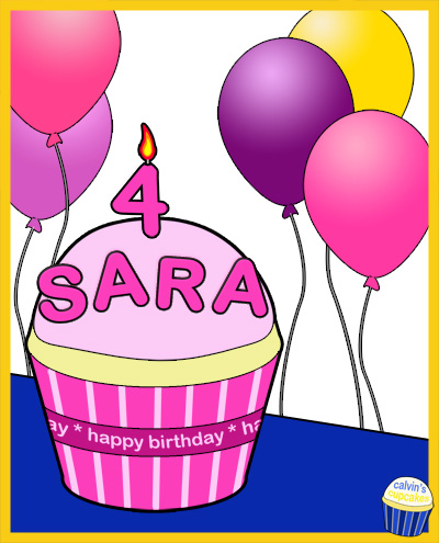 Sara's 4th Birthday Cupcake