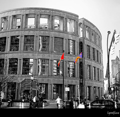Vancouver Public Library (Linda Goodhue) Tags: city urban blackandwhite vancouver reflections geotagged nikon downtown bc britishcolumbia library flags hdr selectivecolour vancouverlibrary 18200mm tonemapped d80 nikond80 lindagoodhuephotography